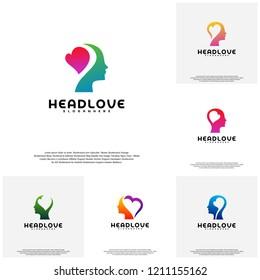 Collection Head love logo vector, Head intelligence logo designs concept vector