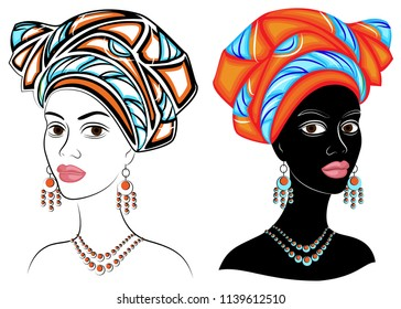 Collection. Head of the sweet lady. On the head of an African-American girl there is a bright red scarf, a turban. The woman is beautiful and stylish. Set of vector illustrations.