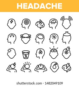 Collection Headache Elements Icons Set Vector Thin Line. Migraine Brain, Tension And Cluster Headache Symptom Linear Pictograms. Head Medical Problem Monochrome Contour Illustrations