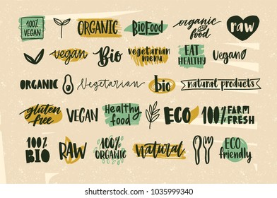 Collection of healthy organic food and natural vegan and vegetarian eco products lettering handwritten with calligraphic fonts. Bundle of hand drawn labels or tags. Creative vector illustration.