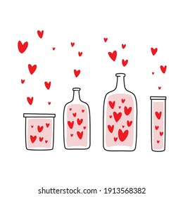collection of heart and bottle, love and bottle, heart fly from bottle.
