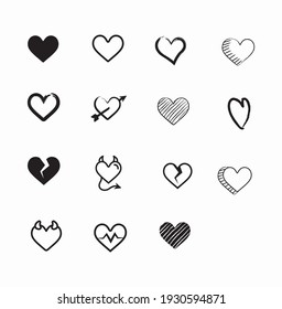 Collection of Heart Icons Illustrations