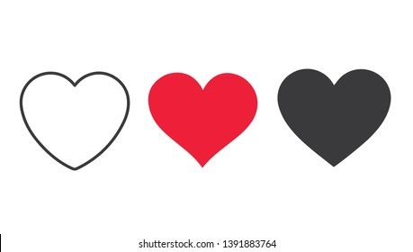 Collection of heart illustrations, Love symbol icon set, love symbol