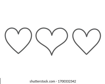 Collection of heart illustrations, Love symbol icon set, love,Gray line, symbol,White background