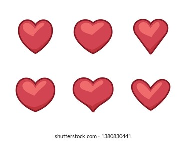 Collection of heart illustrations, set of hearts, love symbol icon