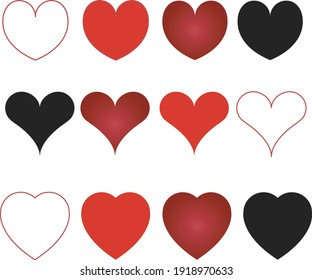 Collection of heart illustrations, set of love symbols heart icons in vecto