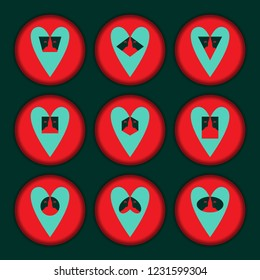 A collection of hearts composed of faces of people and geometric shapes. Vector illustration.