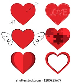 Collection of hearts. Vector design