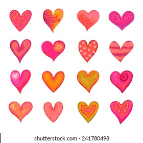 Collection of hearts in watercolor style for Valentine's Day, vector illustration.