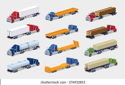 Collection of heavy trucks with semitrailers. 3D lowpoly isometric vector illustration. The set of objects isolated against the white background and shown from two sides