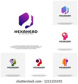 Collection Hexagone Head logo vector, Head intelligence logo designs concept vector