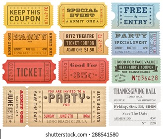 Collection of High detail Vintage grunge Tickets and Coupons vector illustrations