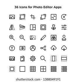 A collection of high quality photo editor icons