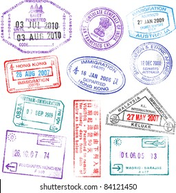 A collection of highly detailed passport stamps, all inspired from real passport stamps, but completely created using Illustrator Software.