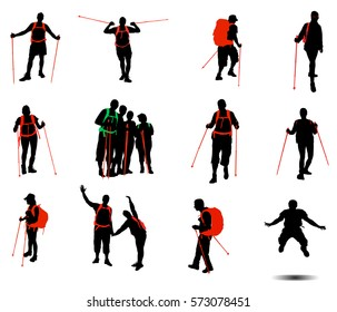 Collection of hikers vector silhouettes