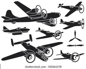 Collection of historical airplanes, World War II. Vector illustrations. American, British and German fighters and bombers.