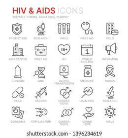 Collection of HIV and AIDS line icons. 48x48 Pixel Perfect. Editable stroke