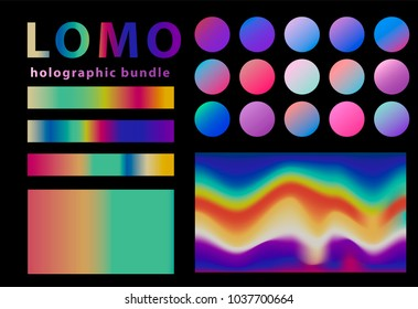 Collection of holographic elements, hipster lomography style big set.