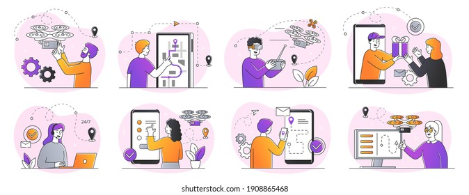 A collection of home delivery concepts using modern software and devices such as drones, GPS trackers, smartphone applications. Set of outline flat vector illustrations isolated on white background