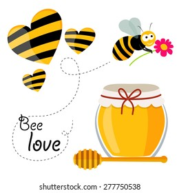 Collection of honey related graphics consisting of a bee, honey spoon, jar of honey and bee stylized hearts in flat design