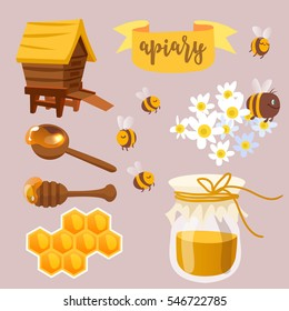 Collection of honey related graphics consisting of bee, honey spoon and honey in glass.