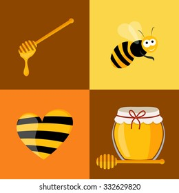Collection of honey related icons consisting of bee, honey spoon and honey in glass and heart in vector