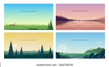 Collection of horizontal banner templates with spectacular natural landscapes or sceneries. Bundle of beautiful backgrounds with forest trees, mountains, sea, sky. Modern vector illustration.
