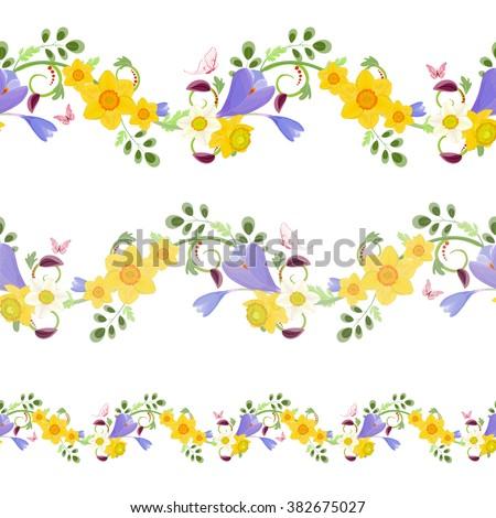 Collection horizontal seamless borders spring flowers stock vector collection horizontal seamless borders with spring flowers for your design mightylinksfo