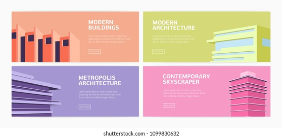 Collection of horizontal web banners modern buildings, skyscrapers of contemporary metropolis architecture and place for text. Flat bright colored vector illustration for promotion or advertisement