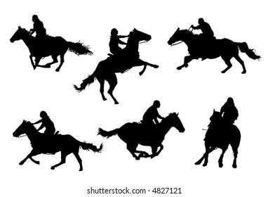 A collection of horsemen / horsewomen vector silhouettes.