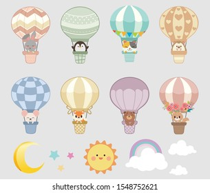 The collection of hot air balloon and The animals in the basket with sky set. The character of cute rabbit ,penguin,cat,hedgehog,mouse,fox,bear and squirrel sitting in the basket.