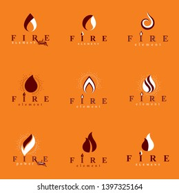 Collection of hot orange fire vector logotypes, nature element. Petrol business corporative emblem for use in graphic design.