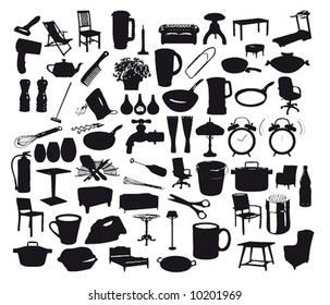 Collection of household items.