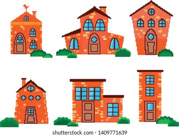 Collection of houses in the style of pixel art that can be used for games, applications, cartoon
