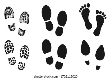 collection of Human walking footprints shoes and shoe sole funny feet footsteps paws people. vector footsteps icon or sign for print,  isolated on white background
