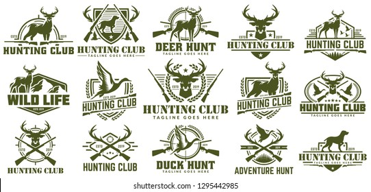 Collection of hunting logo,  duck and deer hunt logo