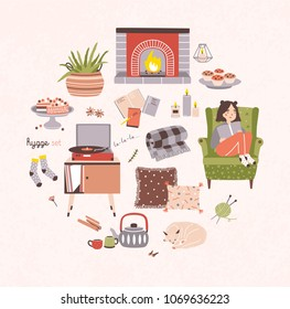 Collection of hygge attributes, furniture and home decorations arranged into round pattern - fireplace, pillows, tea, desserts, woman sitting in comfortable armchair and reading. Vector illustration.