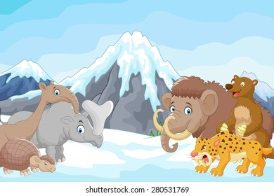 Collection of ice age animals with icebergs