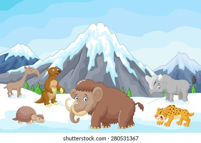 Collection of ice age animals with mountains