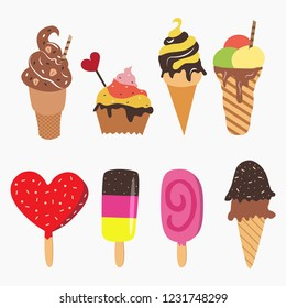Collection ice cream vector