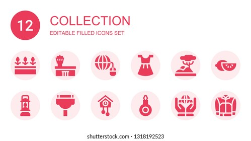 collection icon set. Collection of 12 filled collection icons included Flowers, Airport, Grid, Dress, Savannah, Lantern, Cable, Cuckoo clock, Threader, Worldwide, Lemon, Jacket