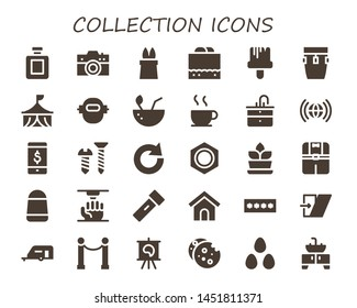 collection icon set. 30 filled collection icons.  Collection Of - Fragance, Camera, Magic, Chocolate fudge, Paint brush, Conga, Circus, Robot, Coconut, Chocolate, Sink, Worldwide