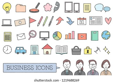 A collection of icons about business. Handwriting style