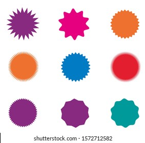 Collection of icons badges starburst, sunburst, label, sticker. 9 different types and differebt colors. Design elements. Vector illustration