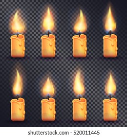 Collection of icons with candles. Fire animation on transparent background. Flame animated effect illustration in simple cartoon style. Eight yellow brightly burning candles. Flat design. Vector