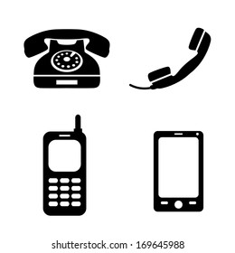 Collection of icons classic telephone mobile and smart phone isolated vector illustration