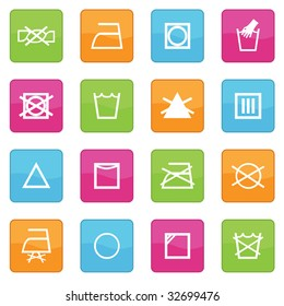 collection of icons with fabric care symbols