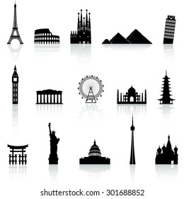 A collection of icons of famous places and monuments around the world