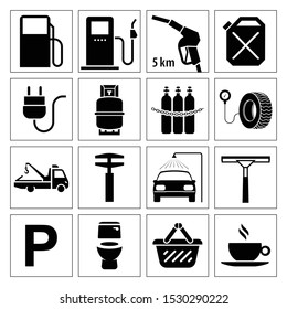 Collection of icons for gas station. Very useful and usable set of pictograms for gas station and other services on the road.