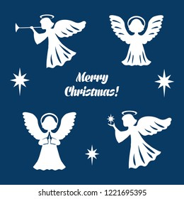 Collection icons for holiday of Christmas and New Year. Christmas set from angels and star of Bethlehem. Vector illustration.